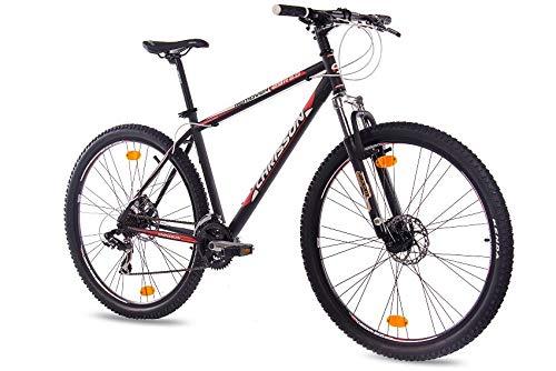 CHRISSON 29 Zoll Mountainbike Hardtail - Remover 2.0 schwarz - Hardtail Mountain Bike mit 21 Gang Shimano Tourney Kettenschaltung - MTB Fahrrad für Herren und Damen mit Zoom Federgabel