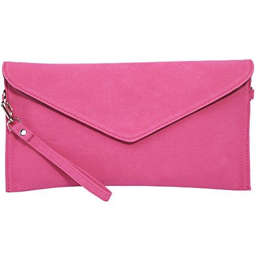 KorMei Damen PU Wildleder Handtaschen Envelope Clutch Party Tasche Pink