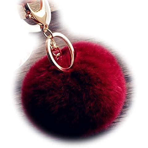 Sweet Home a forma di coniglio e soffice pelliccia, placcato in oro con sfera-Portachiavi con ciondolo a forma di borsetta, colore: rosso