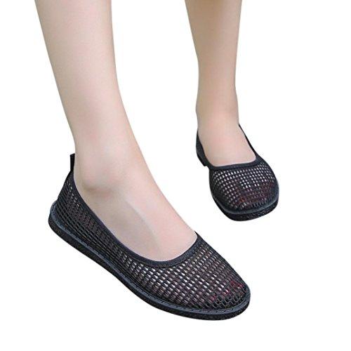 Cloom Mode Frauen Breathable Hohl Flache Ferse Slip on Bootsschuhe Beiläufige Breathable Ineinander Greifen-Flache Schuhe der Frauen Beschuht Einzelne Schuhe 36-41 Loch Schuhe Damen (36, Schwarz)