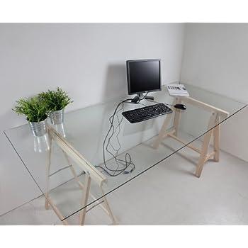 bonvivo designer schreibtisch massimo im edlen material mix glas tisch mit bambus gestell. Black Bedroom Furniture Sets. Home Design Ideas