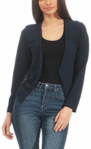 malito Damen Blazer ohne Kragen   Sakko im Basic Look   Kurzjacke mit Zipper   Jacke - Jackett - Blouson 6040 (dunkelblau, XL)