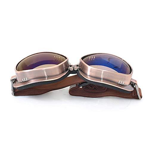 Neckip Motorrad Brille für T04 Bronze Rahmen Retro Style Winddicht Helm Brille für Skifahren Sport Colorful Piece