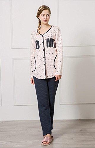 Lingerie de nuit féminine dernières manches longues coton pyjama sortie hiver beige