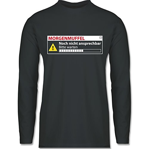 Shirtracer Sprüche - Morgenmuffel - Nicht Ansprechbar - Herren Langarmshirt Dunkelgrau