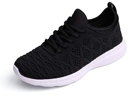 SEECEE Damen Turnschuhe Sneaker Knit Laufschuhe Für Frauen Ultraleicht Sportschuhe Freizeitschuhe Atmungsaktiv Fitnessstudio Schuhe Schwarz 40 EU