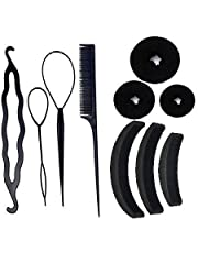 Homeoculture Hair accessories Hair Accessories, Hair Styling Tools, Bun Maker Hair Accessories, Combo Offer With Best Prices (Combo of 10 Pcs) 3 hair donuts 3 Banana Puff Maker, 4 piece juda maker