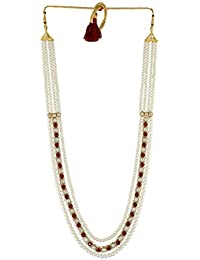 Anuradha Art Red-Gold Colour Styled with Beads Roayl Look Traditional Necklace Groom Moti Mala for Men