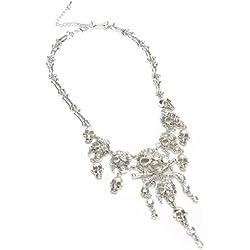 Jerollin Vintage Plata Cadena Pirata Cr¨¢neo Cabezas de Diamantes de imitaci¨®n Durante Declaraci¨®n Collar