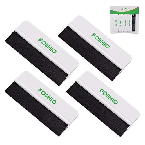 FOSHIO 4er Set Rakel mit Filzkante Filzrakel zur Verklebung von Folie Wandtattoo, 10 × 4,5 cm -