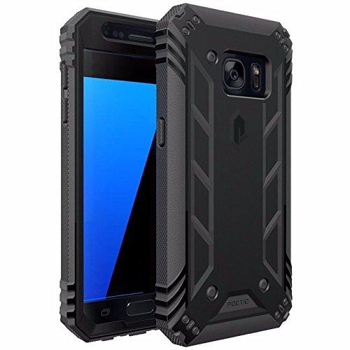 Poetic Carcasa híbrida con Protector de Pantalla Serie Revolution Heavy Duty, Samsung Galaxy S7, Negro