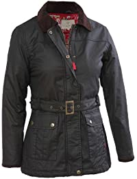 VEDONEIRE Womens Wax Jacket (5050 BLACK) waxed motorbike style