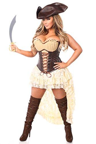 Sexy Kostüm Pirate Übergröße - Daisy Corsetts Damen Oberteil Schublade Übergröße 4 Stück Piratenkostüm - Braun - 2X