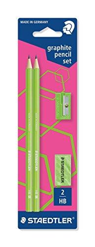 Staedtler 180FSBK2P3 Bleistift WOPEX HB Set, Blisterkarte, neon grün