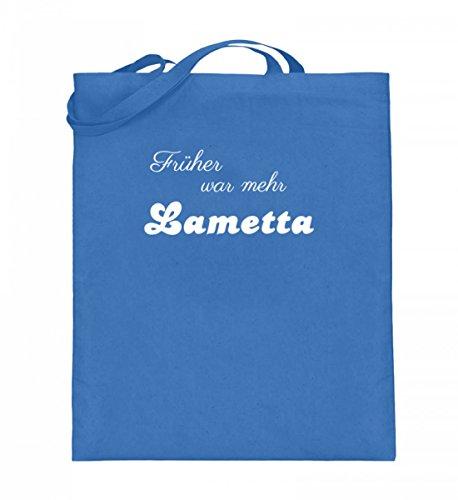 Hochwertiger Jutebeutel (mit langen Henkeln) - Früher war Lametta Blau