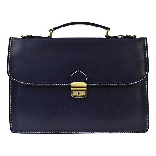 CTM Unisex Business-Tasche, Aktentasche aus echtem Leder hergestellt in Italien D7004 - 38x27x7 Cm Blau