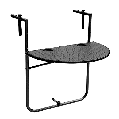IKAYAA Adjustable Folding Balcony Deck Table Hanging Patio Railing Dining Table Garden Patio Furniture - inexpensive UK light shop.
