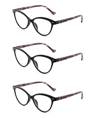 JM 3 Pack Mode Designer Katzenauge Lesebrille Federscharnier Brillen für Leser Damen +1.0 Schwarz