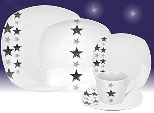 Servizio da tavola 60pezzi per 12persone stelle in porcellana, colore: bianco con decorazione
