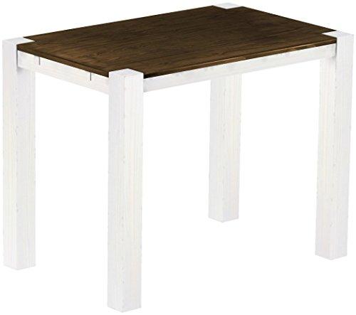 Brasil Meubles Haut Table 'Rio Kanto' 140 x 90 x 109 cm, Pin Parasol Bonito Bois Massif, Teinte chêne Antique Blanc