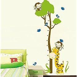 Wachstums-/Körpergröße-Schautafel-Wandfolie, Giraffe, Affe, abnehmbare Vinylaufkleber, super für das Kinderzimmer, Spielzimmer, Mädchen und Jungen.