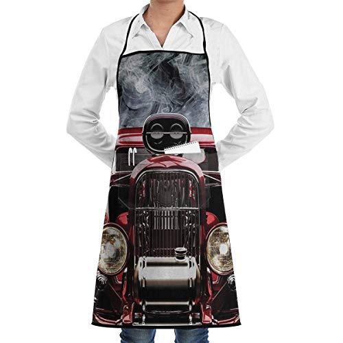 Drempad Schürzen American Hot Rod Roadster with Smoke Background Bib Kitchen Apron, Cooking Apron, Chef Aprons, Apron for Women, Apron for Men, Durable, Machine Washable, Comfortable -