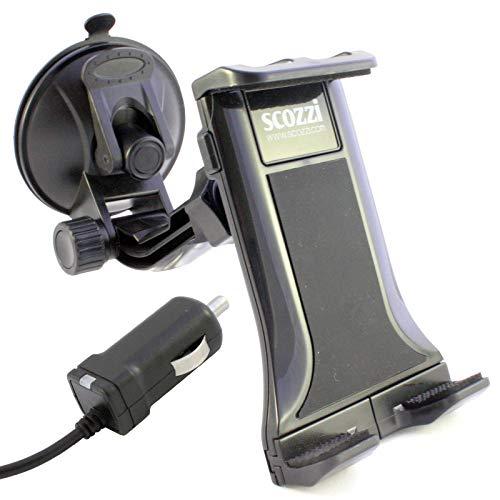 scozzi 360° KFZ Halterung + USB C Auto Ladegerät mit 2400mAh z.B. kompatibel mit HTC U12 U12+ U11 U11+ Eyes Life U Play Ultra 10 Evo Lifestyle | Plus, Handy Smartphone Tablet Auto Halter Ladekabel -