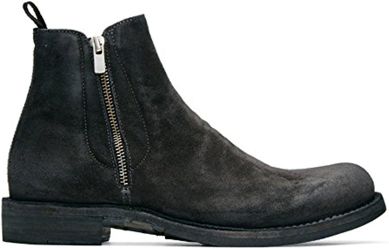 Männer   mode  freizeit  echtes leder  martin stiefel  reißverschluss   schwarze chelsea   stiefel schwarz 38