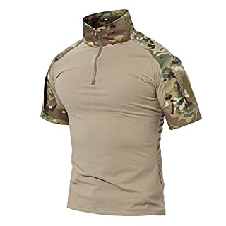 MAGCOMSEN Outdoor Military Combat Slim Fit T Shirt Short Sleeve with Zipper, Cp-short, UK M=Tag XL(Fit Your Chest 36-39)