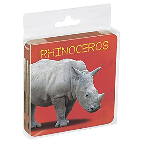 Tree Free sans 52780 7,6 x 7,6 cm, Rhinoceros de bébé sur le thème des animaux sauvages Art dessous en liège, lot de 4