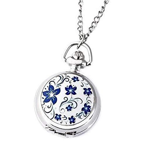 TOOGOO Reloj De Bolsillo Flor Azul Loto Plata Peque?o De Cuarzo Retro Clásico Modelos De Pareja