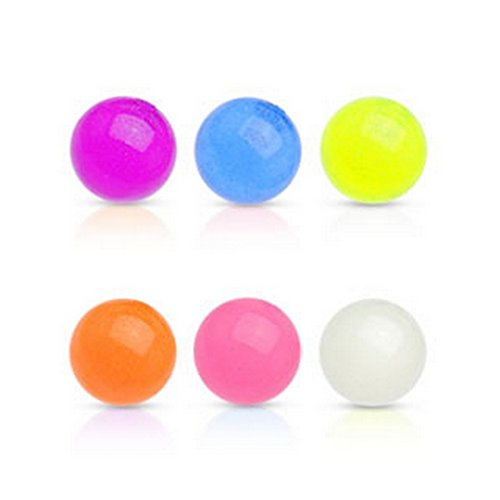 Lot de 10 pièces boules lumineux dans l'obscurité Taille 1.6 mm x 5 mm rose