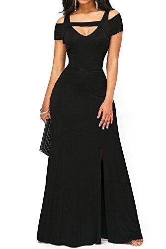 Kleid Ganzkörper (Z-one Frauen V-Ausschnitt Kurzarm Kalt Schulter Ganzkörper-Maxi Formal Party Kleid (XL,)