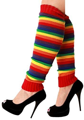krautwear Damen Beinwärmer Stulpen Legwarmers Overknees gestrickte Strümpfe 80er Jahre 1980er Jahre, 1x Rot-orange-gelb-grün-blau-lila, Einheitsgröße
