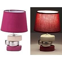 Lámpara para mesita de noche romántica lila de cerámica para dormitorio France