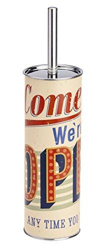 Wenko 21601100 WC-Garnitur Vintage Open, Bürstenhalter, Stahl, mehrfarbig, 9,5 x 9,5 x 37,5 cm