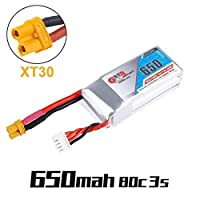 GNB 650mAh 3S LiPo Battery 11.1V 80C XT30 Plug Connector Rechargeable Battery for FPV Racing Drone RC Quadcopter Airplane