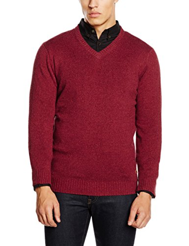 Camel Active Herren Pullover V-Neck 1/1, Rot (Rost 01), Medium -