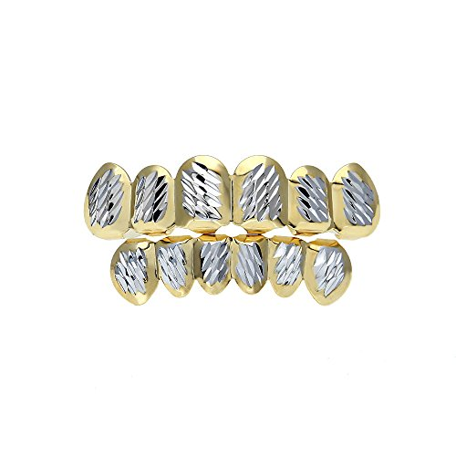 mcsays HipHop Zähne gilllz Set Silber Schnitt Blumen Muster golden Grills Special Fashion Jewelry für Männer und Frauen Geschenke