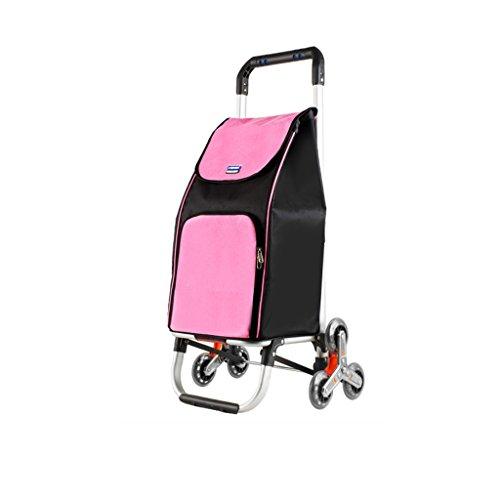 Folding Portable Klettertreppen Einkaufswagen Kaufen Sie einen kleinen Pull Cart Handwagen Trolley Gepäckwagen Aluminium Rod Trailer Hand Truck (Farbe : Rosa) (Truck Rosa)