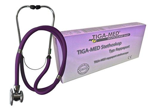 Tipo: Estetoscopio de doble cabeza Rappaport, color morado original Tiga-Med calidad pieza de estetoskope...