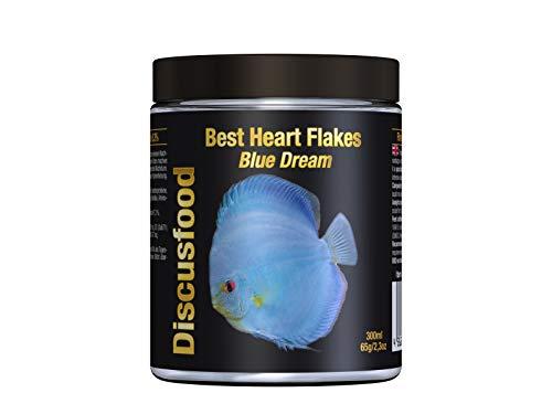 Best Heart Flakes Blue Dream Premium Fischfutter, Flockenfutter, Rinderprotein als Flocke, mit Vitaminen und Mineralien, alle Zierfisch, speziell auch für Diskus oder Welse, unterstützt Blaue Farbe