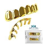 Grillz placcato in oro 24K per bocca set denti Hip Hop superiore inferiore + 2 barre di modellatura extra