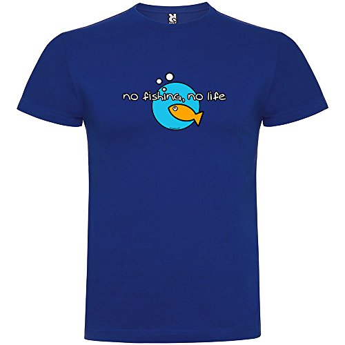 kruskis Camiseta Pesca No Fishing No Life Manga Corta Hombre Azul Royal XL 6864552828d5b