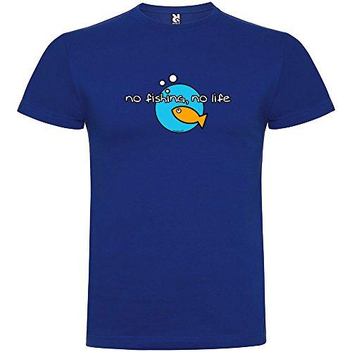 kruskis Camiseta Pesca No Fishing No Life Manga Corta Hombre Azul Royal XL 5353fa6cf2ca8