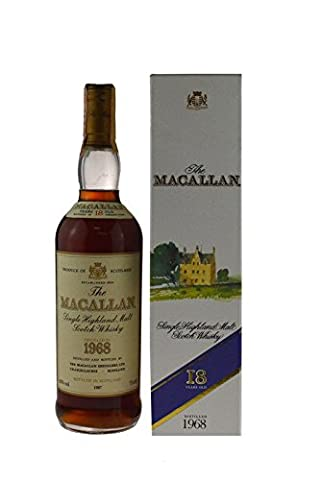 Rarität: The Macallan Whisky Jahrgang 1968, 18 Jahre alt, abgefüllt 1987 mit 0,7l Originalabfüllung mit Geschenkkarton - Highland Single Malt Scotch Whisky