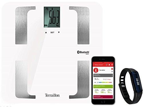 Terraillon Pèse Personne Connecté, Pour Smartphone/Tablette, Impédancemètre, 8 Mémoires Utilisateurs, Bluetooth Smart, 160kg, Web Coach Prime, Noir