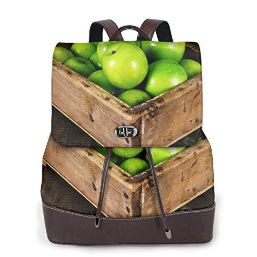 SGSKJ Rucksack Damen Korb Früchte Box, Leder Rucksack Damen 13 Inch Laptop Rucksack Frauen Leder Schultasche Casual Daypack Schulrucksäcke Tasche Schulranzen -