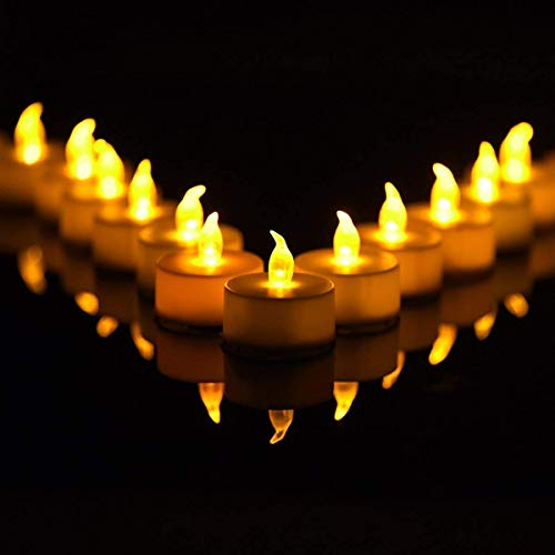 Tea Light Flameless LED Tea Lights Candles Flickering Warm Yellow 100+ Hours Battery-Powered Candle. Ideal for Party, Wedding, Birthday, Gifts and Home Decoration (6pcs)