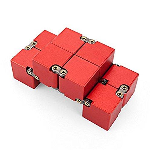 KENROLL Infinity Fidget Magic Cube Sensory Toy Alluminio Puzzle Box Design Anti Stress e sollievo di ansia Promuove la messa a fuoco, la chiarezza (Rosso) - 3